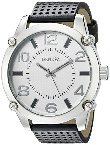 Geneva Black Leather Watch - 6