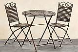 Tisch + 2 Stühle *Lina* Gartenmöbel Sitzgruppe Garnitur Eisen Landhaus