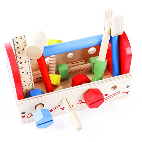 Babe Rock Kids Toy Tool Kit - Wooden Construction Toy with Accessory Play Set for Kids Toddlers Build (19 pcs) ()