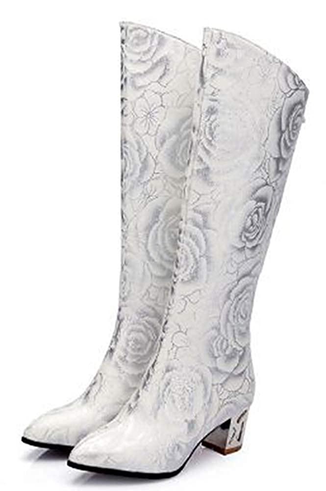 Womens Vintage Floral Print Pointy Toe Zip Up Mid Chunky Heel Knee High Boots with Zipper