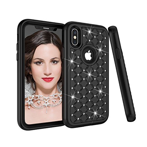 iPhone X Case, SUMOON 3 in 1 [Studded Rhinestone][Full-Body Protective] [Shockproof]Hard PC+ Soft Silicon Rubber Armor Defender Protective Case Cover for iPhone X 2017 (Black)