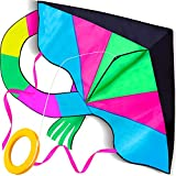 LIDERSTAR Huge Kite for Kids and Adults -Big Rainbow Kite 61 Inches Wide – Long Tail 95 inch,100 Meter String -Easy to Fly Toy for Outdoor Games and Activities -Good Plan for Memorable Summer Fun