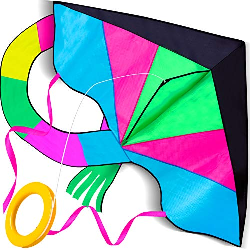 LIDERSTAR Huge Kite for Kids and Adults -Big Rainbow Kite 61 Inches Wide – Long Tail 95 inch,100 Meter String -Easy to Fly Toy for Outdoor Games and Activities -Good Plan for Memorable Summer Fun by LIDERSTAR
