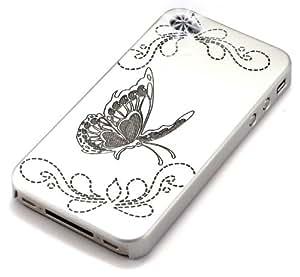 """""""Mariposa Efecto"""" Plateado, Estuche rígido de tacto suave & """"Desire"""" Negro, Funda de tacto suave - para iPhone 4. Paquete único de Cubierta / Estuche / Carcasa / Funda para iPhone 4 & Auténtico estuche de tacto suave para iPhone 4."""