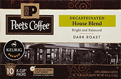 Peet's Coffee, Decaf House Blend, Dark Roast, K-Cup Pack (60 ct.), Single Cup Decaf Coffee Pods, Bright, Lively, & Balanced Dark Roast Blend of Latin American Coffees; for All Keurig K-Cup Brewers