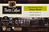 Peet's Coffee K-Cups, Decaf Dark Roast House Blend, 10 Count Pods (Pack of 6) Single Cup Coffee Pods, Dark Roast Coffee with Bright Balanced Flavors, Decaffeinated, for Keurig K-Cup Brewers