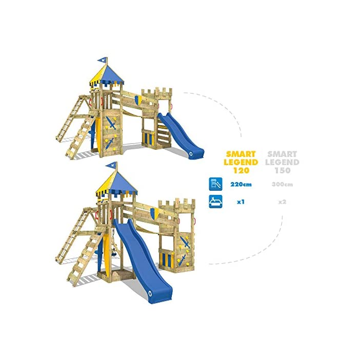 51FEWLtsO9L WICKEY Torre juegos para caballeros nobles y princesas - Calidad y seguridad aprobada - Varias opciones de montaje Poste 7x7cm - Poste de columpio 9x9cm - Madera maciza impregnada a presión - Made in Germany Instrucciones de montaje detalladas - Plataforma de ampliación - Cajón de arena integrado - Puente colgante