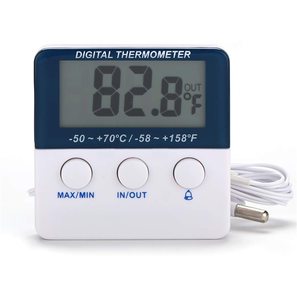 Digital Refrigerator Thermometer with Alarm and Maximum and Minimum Temperature and LED Indicator Light (with Battery)
