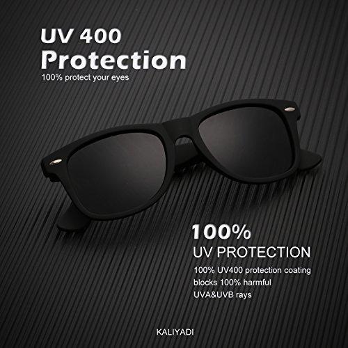Mens Wayfarer Polarized Sunglasses Vintage Refective Mirror Lens Sun Glasses Womens:UV400 Protection (2 pairs) by KALIYADI (Image #3)