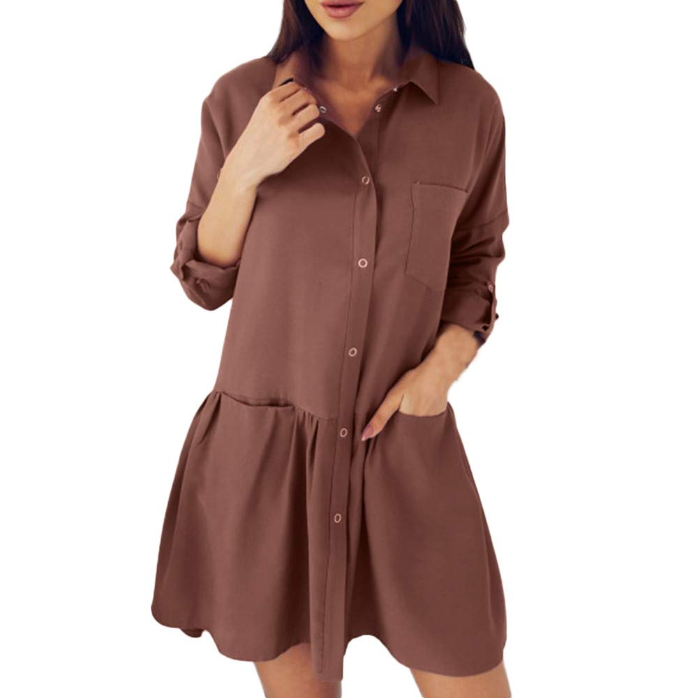 Sexy Burgundy Dress for Women,Women's Fashion Long Sleeve Autumn Casual Loose Pocket Blouse Dress,Handbags & Wallets,Brown,L by AMSKY