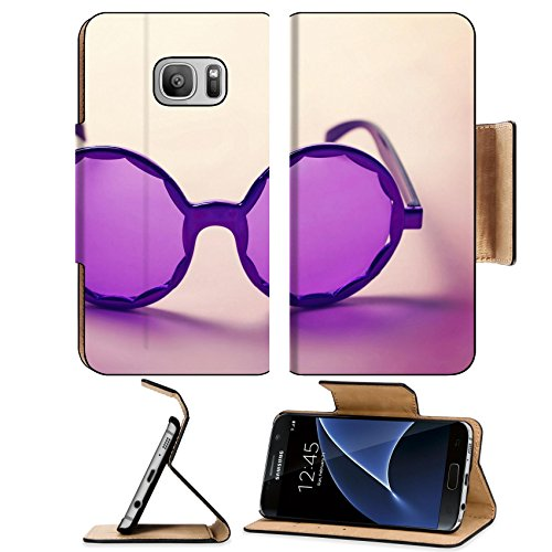 [Luxlady Premium Samsung Galaxy S7 Flip Pu Leather Wallet Case IMAGE ID: 34009416 Funky purple sixties hippy sunglasses with shadows] (60s Dress Up Costumes)