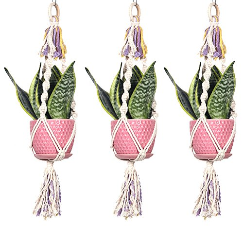 CNSE Colorful Macrame Plant Hanger Indoor Outdoor Hanging Planter Basket Cotton...