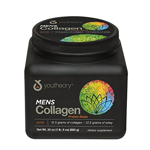 Youtheory Mens Collagen Protein Shake Vanilla with Whey Protein, 24 Ounce Bottle