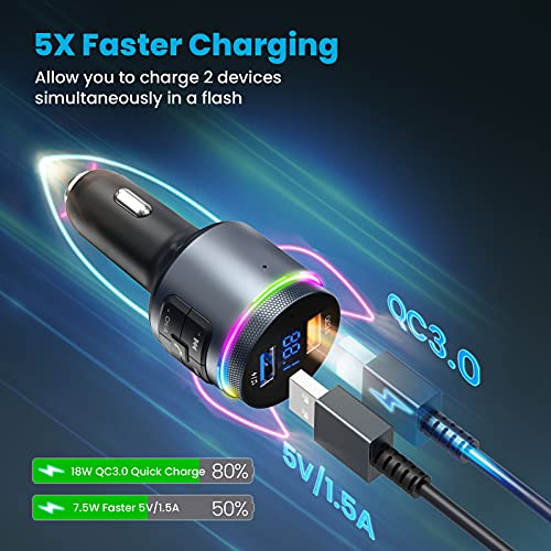 FM Transmitter Car Bluetooth, [Auto Frequency Tuning for Easier to Setup] Bluetooth Car Adaptor QC3.0, 9 RGB Dynamic Backlit, Ring Knob, Radio Music Player/Car Kit Hands-Free Calls Dual-mic