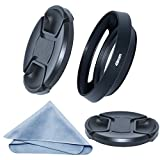 SIOTI 49mm Camera Tilted Vented Metal Lens Hood + Cleaning Cloth + 2pcs Lens Cap(49mm suit for Lens,58mm suit for Lens Hood) for Standard Thread Lens