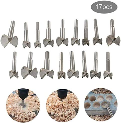 JALAL Woodworking Forstner Drill Bits Sets, 17 PCS Carbon High Speed Steel Wood Working Hole Cutter Titanium Coated Wood Boring Hole