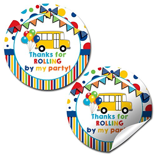 Wheels On The Bus Thank You Sticker Labels, 40 2 Party Circle Stickers by AmandaCreation, Great for Party Favors, Envelope Seals & Goodie Bags