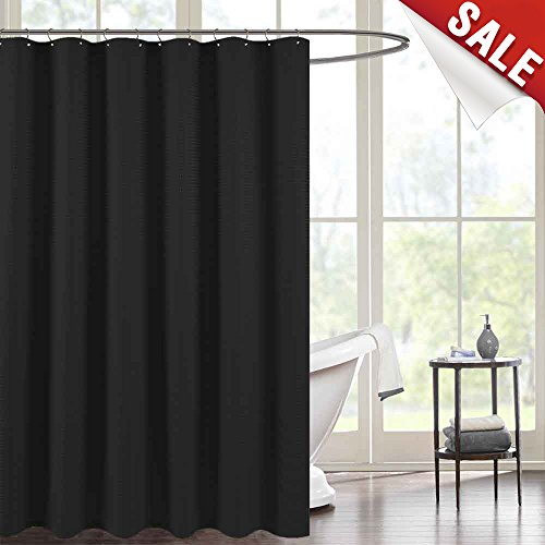 Waterproof Shower Curtains for Bathroom Antibacterial Black Waffle Weave Fabric Shower Curtain Rust-Resistant Metal Grommets Top, 70 by 72 Inches