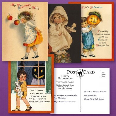 Personalized Halloween Postcards (4 Designs) - Set of 24 5-1/4