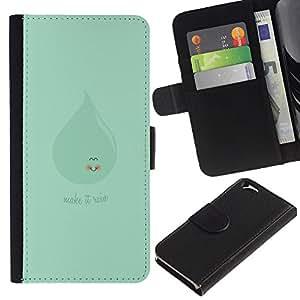 KLONGSHOP // Tirón de la caja Cartera de cuero con ranuras para tarjetas - MAQUILLAJE VERDE LINDO QUE LLUEVE - Apple Iphone 6 //