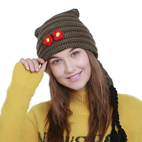 Fashionable Women's Knit Wool Braid Beanie, Unpara Soft Comfortable Floral Winter Hat Ski Crochet Cap (Army Green)
