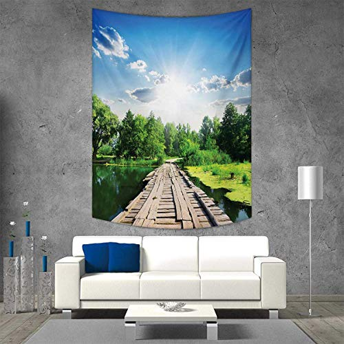 smallbeefly Nature Vertical Version Tapestry Old Wooden Vintage Wooden Deck on Silent River in Sunny Day Rays Fresh Forest Photo Throw, Bed, Tapestry Yoga Blanket 54W x 72L INCH Blue -