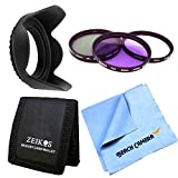 62mm Filter & Hood Essential 7pc kit UV, Polarizer & FLD Deluxe Filter Kit Hard Lens Hood for Nikon Canon Sony DSLR Camera Micro Fiber Cloth Memory Card Wallet Bundle