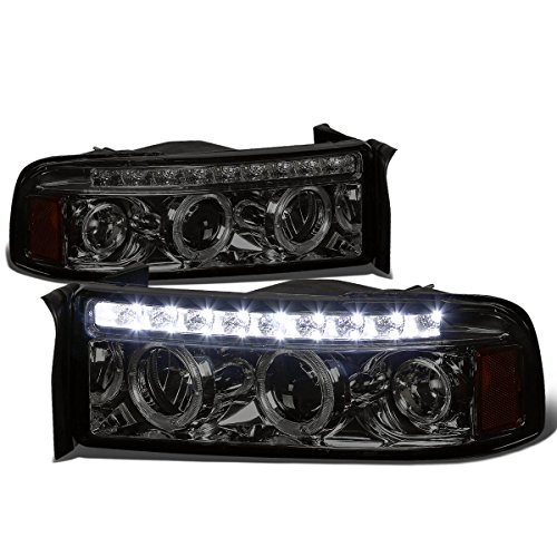 For Dodge Ram BR/BE Smoked Lens Amber Corner Dual Halo Projector LED Headlight Kit (Dodge Ram Projector Halo 01)