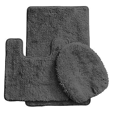 Daniel's Bath & Beyond 3 Piece Solid Luxury Bath Mat, Gray