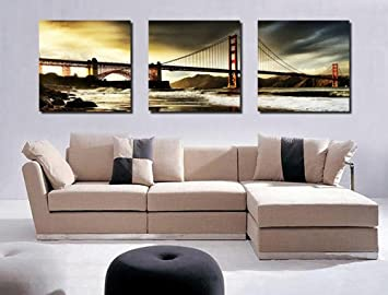 Spirit Up Art Huge San Francisco Golden Gate Bridge Picture Painting on  Canvas Print Stretched and