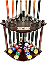 Iszy Billiards Cue Rack Only - 8 Pool Billiard Stick & Ball Floor Stand with Scorer Mahogany Finish (F41