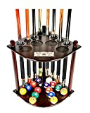 #2: Cue Rack Only - 8 Pool Billiard Stick & Ball Floor Stand With Scorer Choose Mahogany, Black or Oak Finish