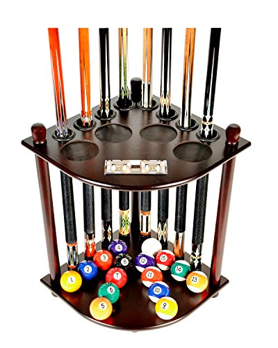 Pool Sticks Table - Iszy Billiards 8 Pool Billiard Stick & Ball Floor Stand with Scorer Finish Cue Rack Only, Mahogany