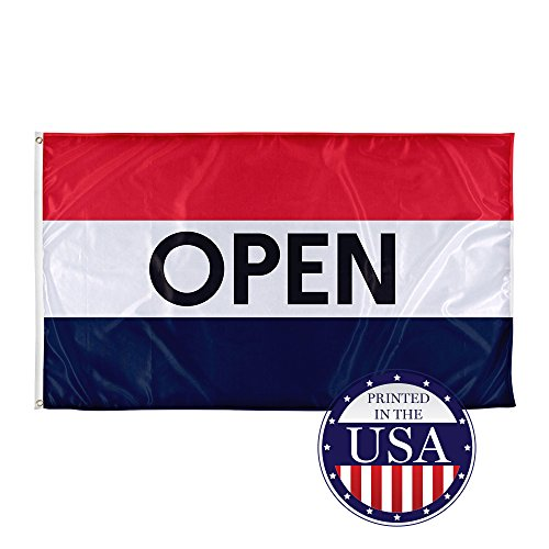 Vispronet 3ft x 5ft Open Flag - Flame-Retardant, Knitted Polyester with Canvas Header and 2 Metal Grommets - Single-Sided Print with 100% Visibility on Both Sides - Printed in The USA ()