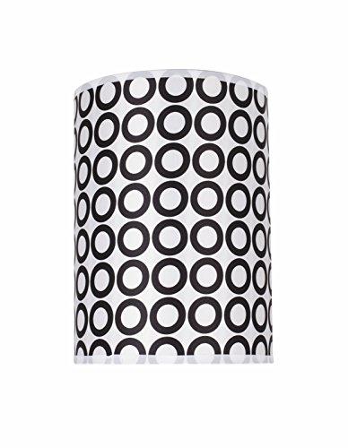 Aspen Creative 31006 Transitional Hardback Drum (Cylinder) Shape Spider Construction Lamp Shade in Black & White Geometric Print, 8
