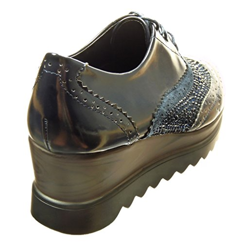 Angkorly - Scarpe da Moda Scarpe brogue scarpa derby zeppe donna strass perforato Tacco zeppa piattaforma 6 CM - Blu