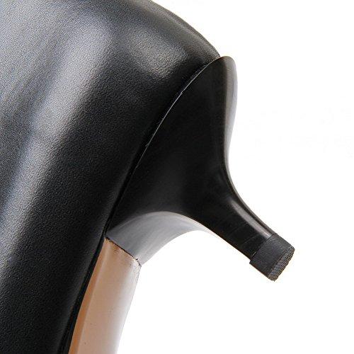 AllhqFashion Mujer Slip-on Cuero de Vaca Tacón Medio Puntera en Punta ZapatosdeTacón Negro-Cuerodevaca