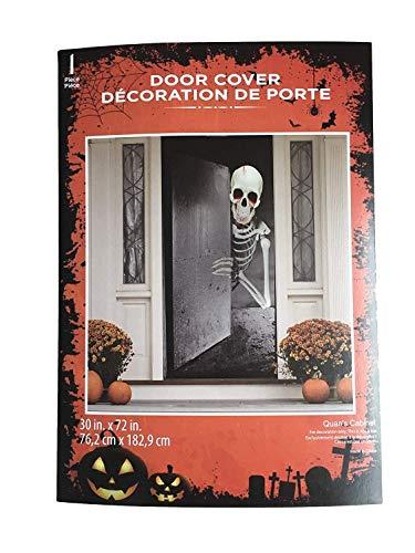 Haunted Halloween Skeleton Door Cover Decorations Scary Demon Dripping Blood 30 X 72 Perfect for Front Door, Refrigerator, Restroom Door or Classroom Door. -
