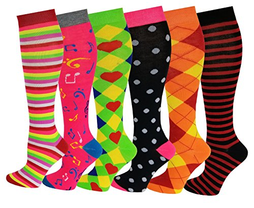 6 Pairs Women's Fancy Design Multi Colorful Patterned Knee High Socks,Assorted Design,Size 9-11 ( Fit women shoe size 4 to 10 )  for $<!--$14.99-->