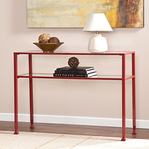Harper Blvd Red Metal and Glass Sofa/ Console Table (Black Metal Sofa Table)