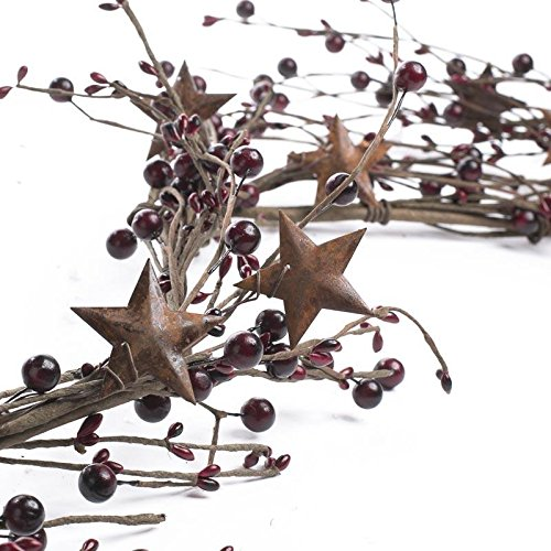 - Factory Direct Craft Mixed Burgundy Berry and Rusty Stars Garland for Indoor Decor