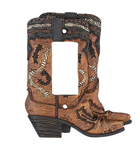 Cowboy Boots Single Rocker Switch Plate Electrical Cover - Rustic Western Cowboy Boot Decor