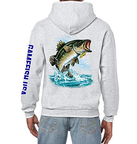 GAMEFISH USA Pullover Fleece Hooded Fishing Sweatshirt Bass Fishing Hoodie (ASH Gray, 3 Extra Large)