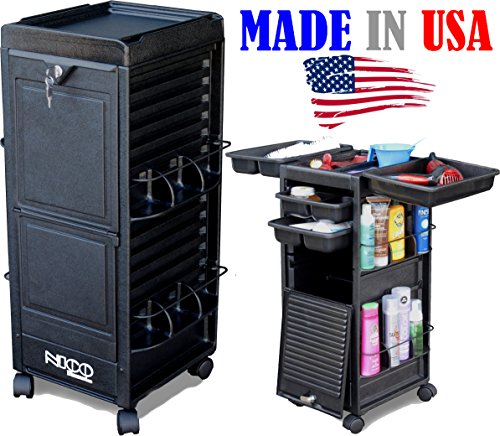 Kd Utility Cart (N20-P FF Salon Rollabout Trolley Utility Cart Black Lockable Made in USA by Dina Meri)
