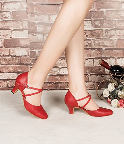 Womens Red Party Toe Morden Round CRC Leather Wedding Strap Dance Shoes Cross Professional Style Ballroom d6CWzq