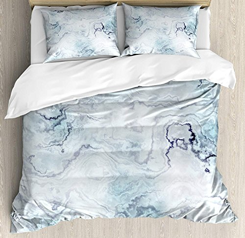 (Marble Duvet Cover Set Queen Size,Soft Pastel Toned Abstract Hazy Wavy Pattern With Ottoman Influences Image,Bedding Cover Set 100% Cotton Boys Girls For Children Teens,Light Blue Grey Mint)