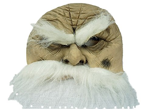 [Halloween Deluxe Chinless Old Man Mask - White Hair and Beard for Adult / Teen] (Old Man Halloween Mask)