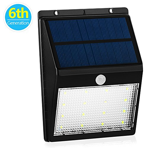 16LED Solar Light Outdoor Waterproof Motion Sensor Security Light with Bright/ Dim Mode; Dusk to Dawn Auto ON/OFF Wall Light Wireless Solar Powered Sensor Detector for Patio Yard Deck Garden Driveway
