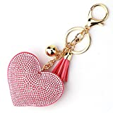 LCHULLE Bling Glitter Keychain Crystal Rhinestone Love Heart Design Key Ring Super Fashonable Keyring Charm Pendant Purse Bag Durable Metal Key Holder Jewellery Key Buckle for Women Girl, Pink