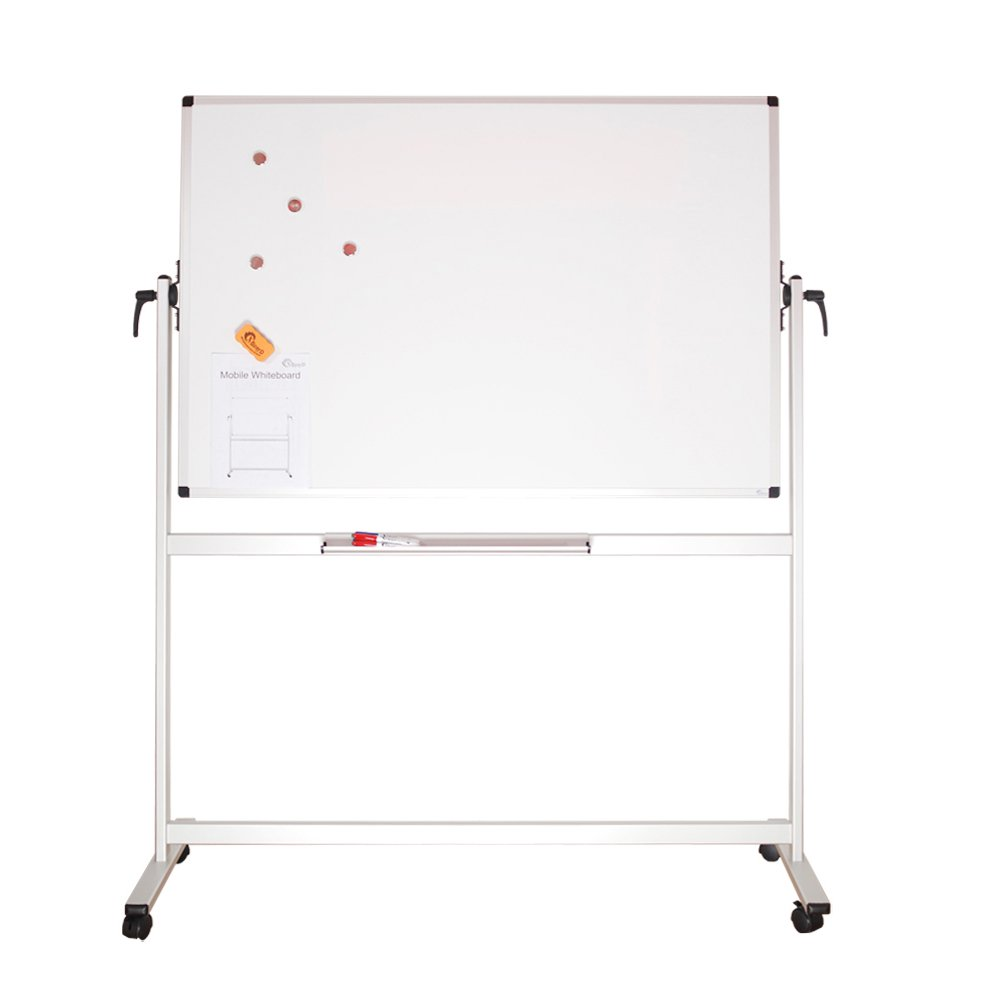 XBoard School Office Mobile Magnetic Dry Erase Board on Wheels,Double-Sided Rolling Whiteboard with Aluminum Stand, 60'' x 40''